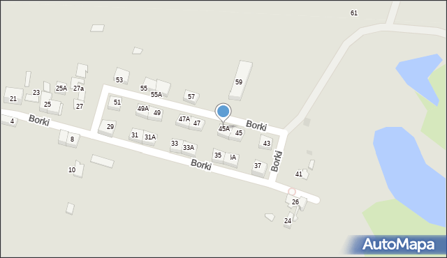 Katowice, Borki, 45A, mapa Katowic