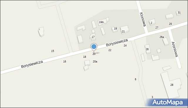 Kochanowo, Borysiewicza, ks., 20, mapa Kochanowo
