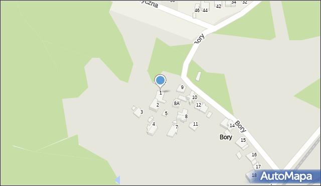 Łazy, Bory, 1, mapa Łazy
