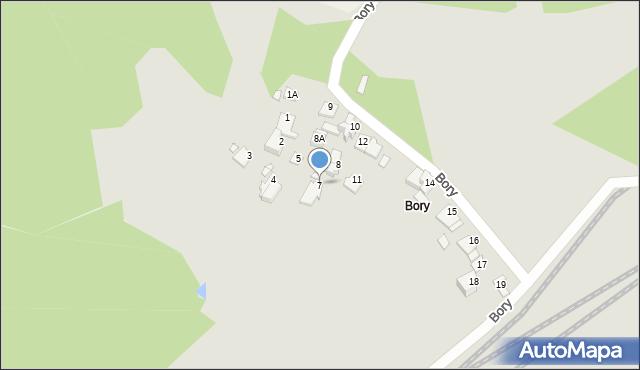 Łazy, Bory, 7, mapa Łazy