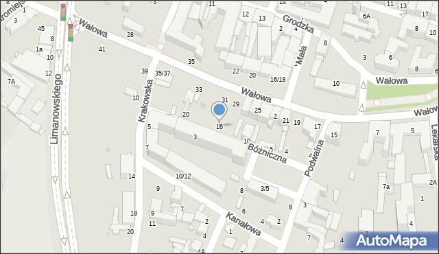 Radom, Bóżniczna, 16, mapa Radomia