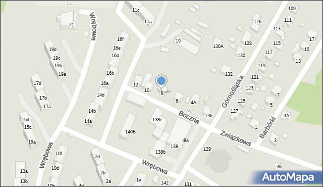 Rybnik, Boczna, 8, mapa Rybnika