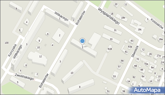 Rzeszów, Bohaterów, 1, mapa Rzeszów