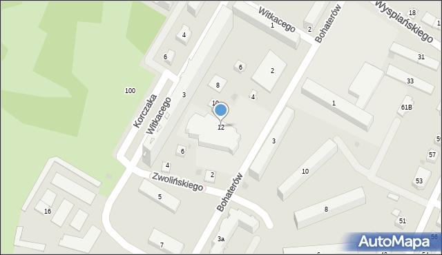 Rzeszów, Bohaterów, 12, mapa Rzeszów