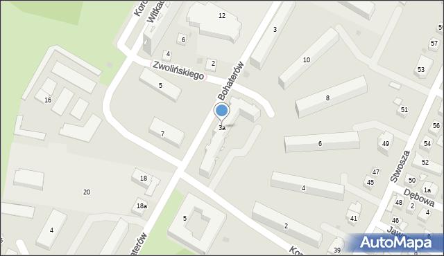 Rzeszów, Bohaterów, 3a, mapa Rzeszów