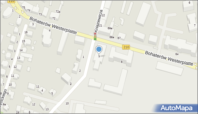 Słupsk, Bohaterów Westerplatte, 7, mapa Słupska