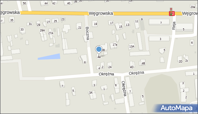 Sokołów Podlaski, Boczna, 4a, mapa Sokołów Podlaski