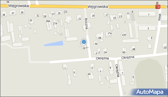 Sokołów Podlaski, Boczna, 6, mapa Sokołów Podlaski