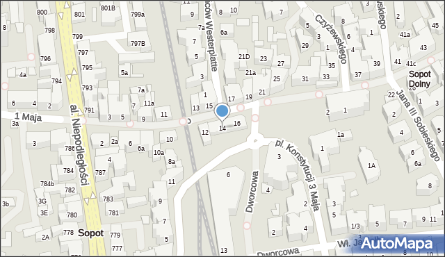Sopot, Bohaterów Monte Cassino, 14, mapa Sopotu