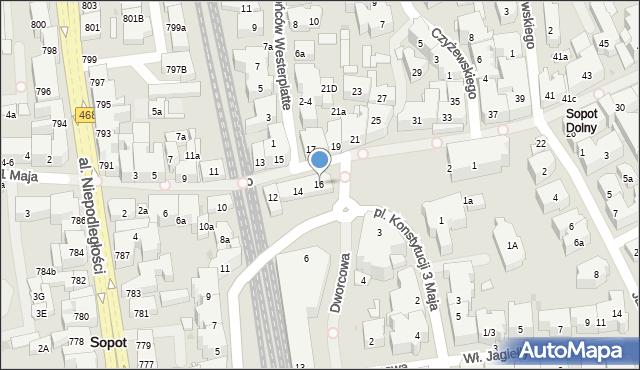 Sopot, Bohaterów Monte Cassino, 16, mapa Sopotu