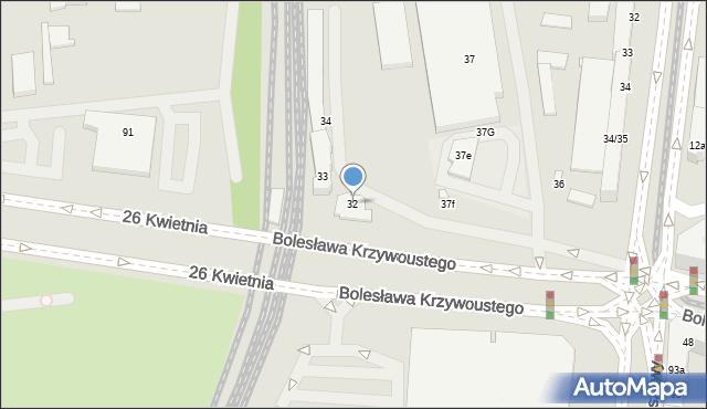 Szczecin, Bolesława Krzywoustego, 32, mapa Szczecina