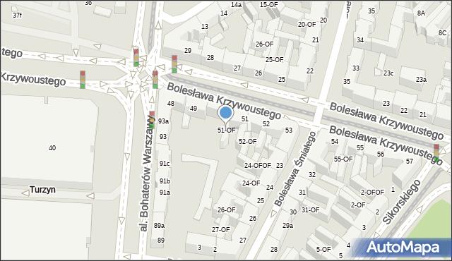 Szczecin, Bolesława Krzywoustego, 51-OF, mapa Szczecina