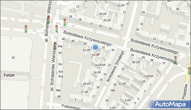 Szczecin, Bolesława Krzywoustego, 52-OF, mapa Szczecina