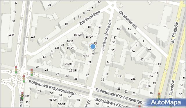 Szczecin, Bolesława Śmiałego, 20, mapa Szczecina