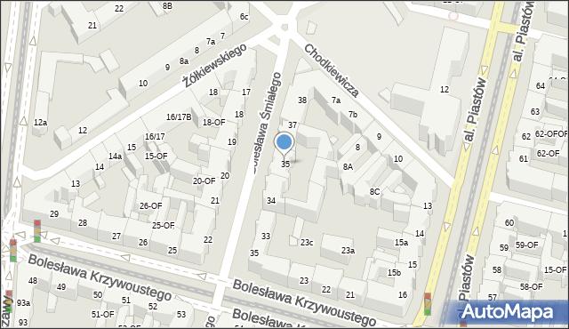Szczecin, Bolesława Śmiałego, 35, mapa Szczecina