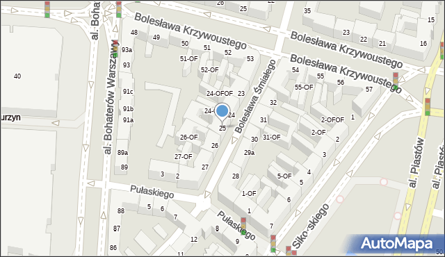 Szczecin, Bolesława Śmiałego, 25, mapa Szczecina