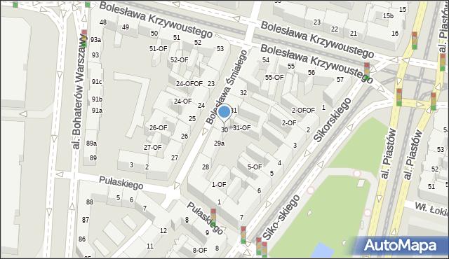 Szczecin, Bolesława Śmiałego, 30, mapa Szczecina