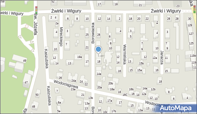 Toruń, Borowiacka, 20, mapa Torunia