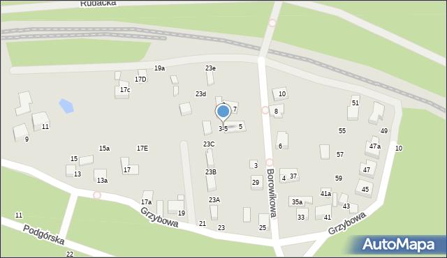 Toruń, Borowikowa, 3-5, mapa Torunia