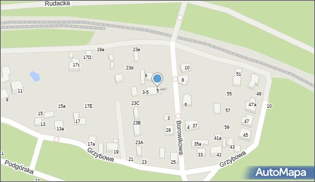 Toruń, Borowikowa, 5, mapa Torunia