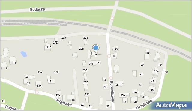 Toruń, Borowikowa, 7, mapa Torunia