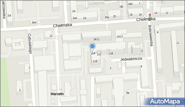 Warszawa, Bobrowiecka, 11A, mapa Warszawy