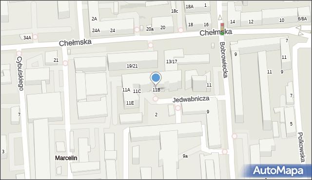 Warszawa, Bobrowiecka, 11B, mapa Warszawy