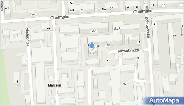Warszawa, Bobrowiecka, 11E, mapa Warszawy
