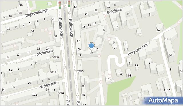 Warszawa, Boryszewska, 12, mapa Warszawy