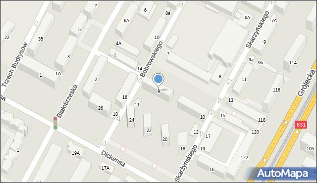 Warszawa, Bobrowskiego Stefana, 9, mapa Warszawy