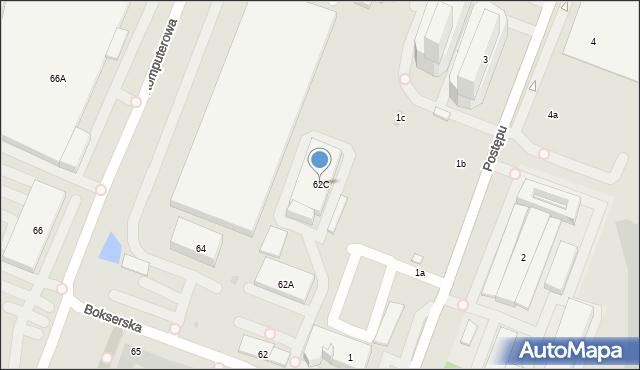 Warszawa, Bokserska, 62C, mapa Warszawy