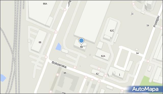 Warszawa, Bokserska, 64, mapa Warszawy