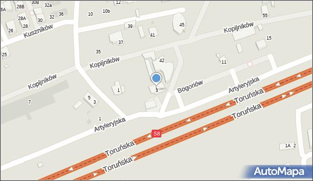 Warszawa, Bogoriów, 3, mapa Warszawy
