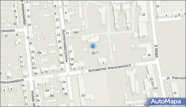 Zabrze, Bohaterów Warszawskich, 1A, mapa Zabrza