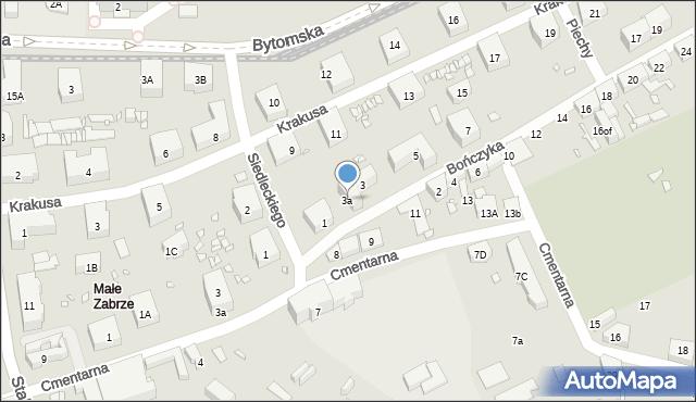 Zabrze, Bończyka Norberta, ks., 3a, mapa Zabrza