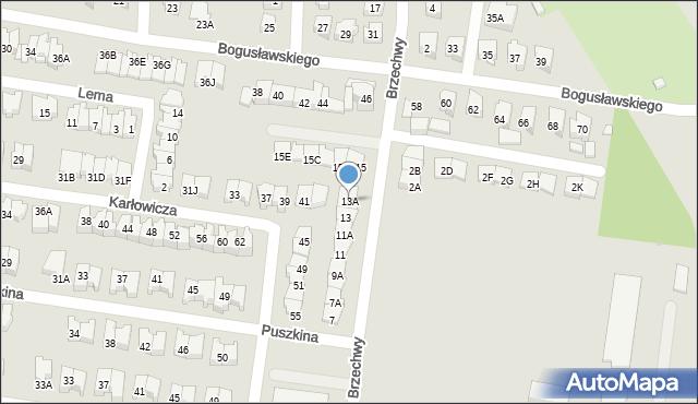 Białystok, Brzechwy Jana, 13A, mapa Białegostoku
