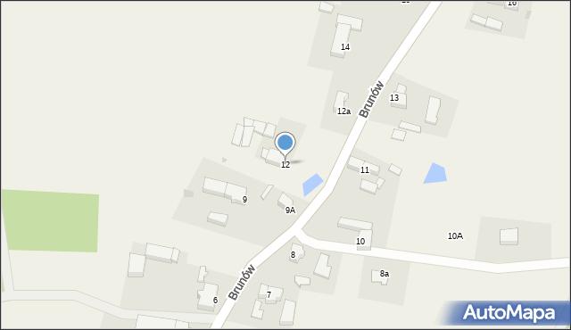 Brunów, Brunów, 12, mapa Brunów