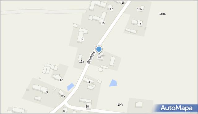 Brunów, Brunów, 13, mapa Brunów