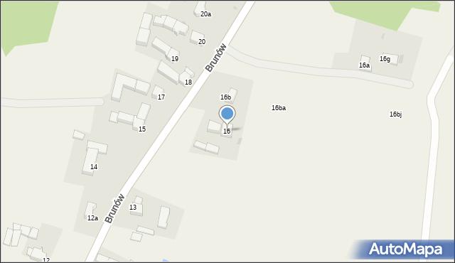 Brunów, Brunów, 16, mapa Brunów