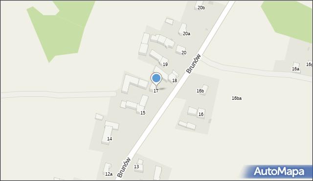 Brunów, Brunów, 17, mapa Brunów