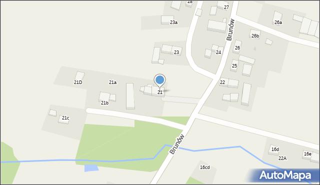 Brunów, Brunów, 21, mapa Brunów