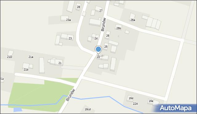 Brunów, Brunów, 22, mapa Brunów