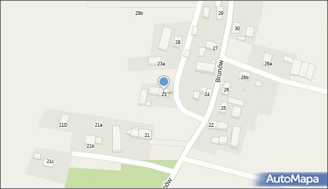Brunów, Brunów, 23, mapa Brunów