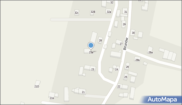 Brunów, Brunów, 23a, mapa Brunów
