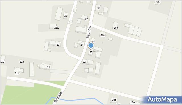 Brunów, Brunów, 25, mapa Brunów