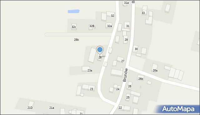 Brunów, Brunów, 28, mapa Brunów