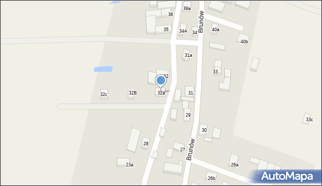 Brunów, Brunów, 32a, mapa Brunów
