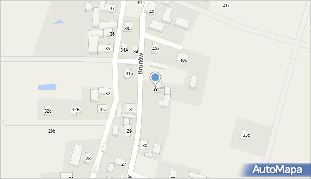 Brunów, Brunów, 33, mapa Brunów