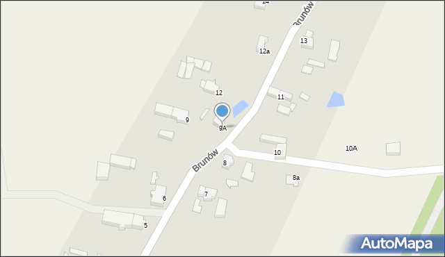 Brunów, Brunów, 9A, mapa Brunów