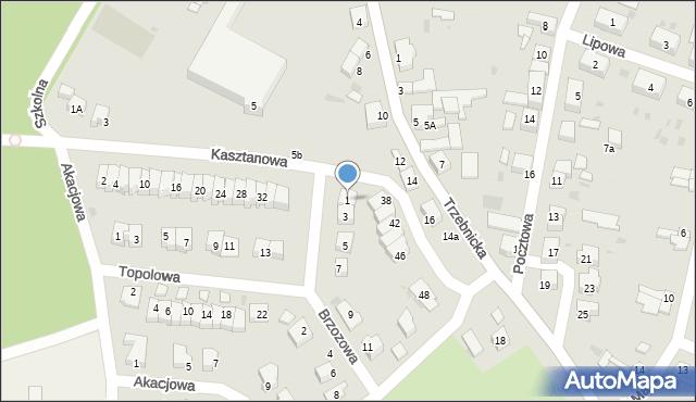 Chocianów, Brzozowa, 1, mapa Chocianów